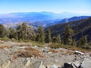 Photo: View east from the summit of Pine Mt. toward distant San Gorgonio Mountain and San Jacinto Peak