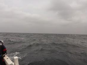 Photo: 今日の予報、1.5~1.0mって言ってたけど・・・今日もハズレ! 波、風あるよ。