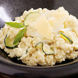 Parmesan And Cauliflower Risotto With Fried Zucchini