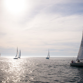 To The Starting Line by Nathaniel Beighley - Transportation Boats ( michigan, sailing, racing, wide angle, nikkor, d600, sailboat, nikon, 24-70mm,  )