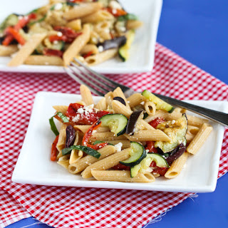 Roasted Vegetable Pasta Salad Recipe with Eggplant, Zucchini & Roasted Peppers.