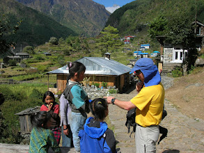 Photo: Marcus gives away Canadian pencils to kids in Khumbu