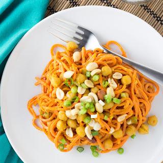 Sweet Potato Noodles with Peanut Sauce {Vegan, Gluten Free}.