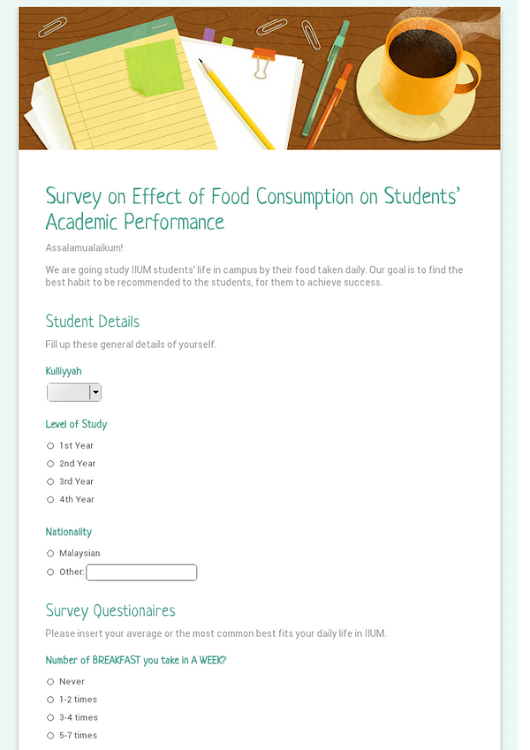 Survey on Effect of Food Consumption on Students' Academic Performance
