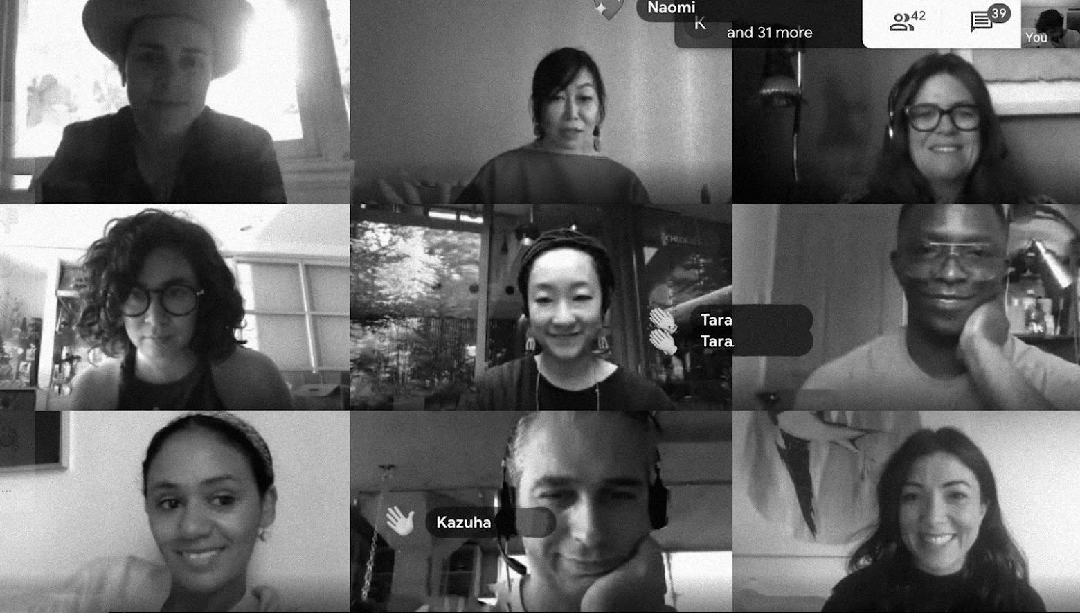 Screenshot of participants during the online session