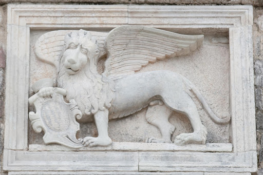 Kotor-emblem2.jpg - A winged beast statue on the city walls of Kotor, Montenegro.