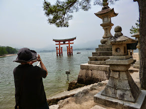 "Photo: My mother and the floating ""Torii"" gateway to the Itsukushima shrine, located on the Miyajima island in Hiroshima.  24th June updated (日本語はこちら) - http://jp.asksiddhi.in/daily_detail.php?id=582"