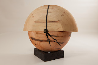 "Photo: Jeff Tate 6"" x 7"" x 3"" split bowl clock [Ambrosia maple, bitter-nut hickory]"