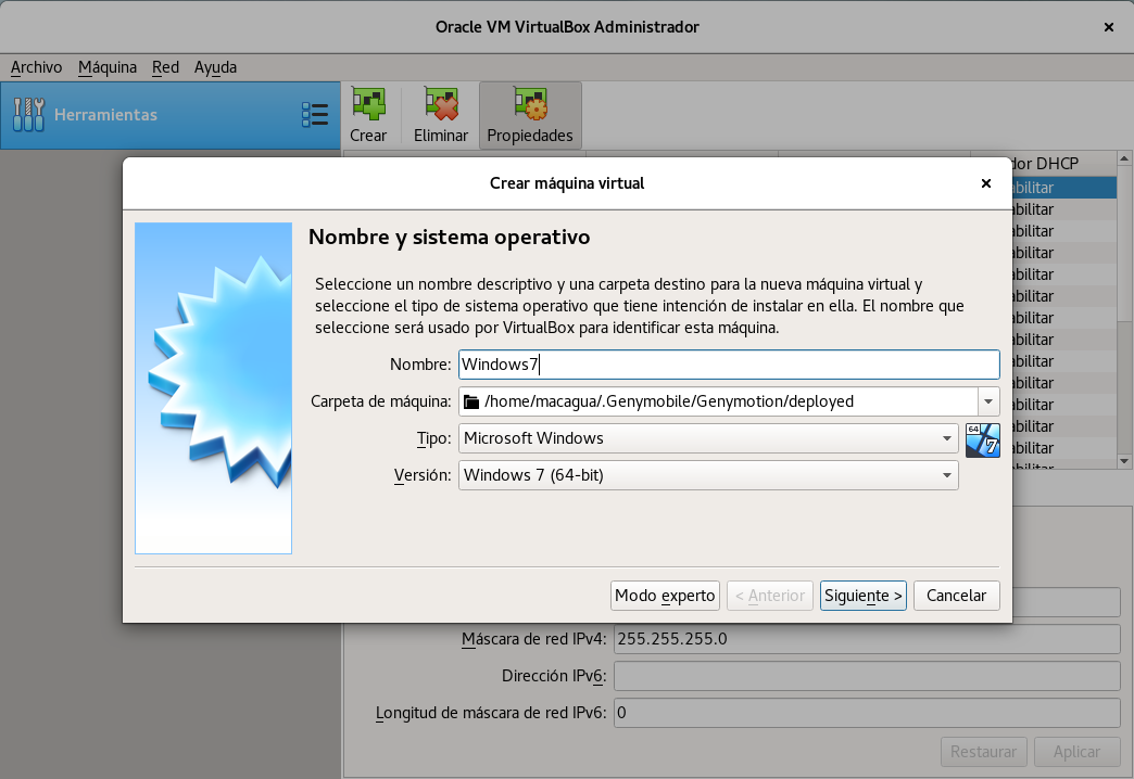 Crear Maquina virtual para MS Windows 7 con el Oracle VM VirtualBox Administratror