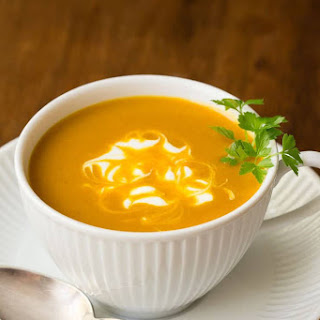 Easy Roasted Pumpkin Coconut Curry Soup.