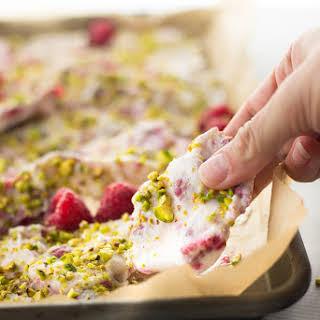 Frozen Yogurt Bark with Raspberries and Pistachios.