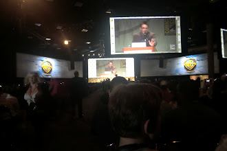 Photo: Saturday - my view of Hall H after WB and Legendary got their hands on it. Note the two additional long, curvy screens. Pretty dang cool.