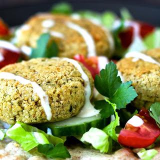 Baked Falafel With Fresh Herbs and Tahini Yogurt Sauce [Vegan].