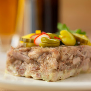 Carolina Whole Hog Cheese with Bread and Butter Pickles and Hot Pepper Vinegar.
