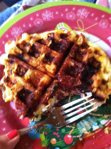 waffle iron potato omelette