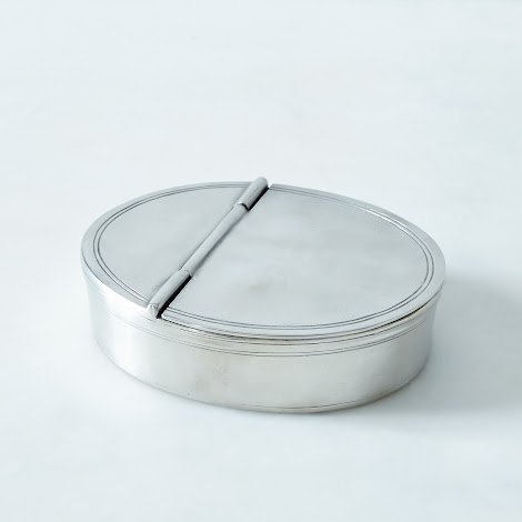 Lidded Pewter Cigar Tray
