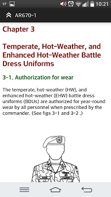 Uniform Regulation AR670-1 - screenshot