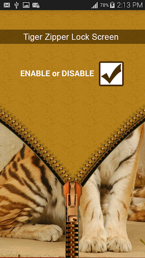 Tiger Zipper Screen Lock