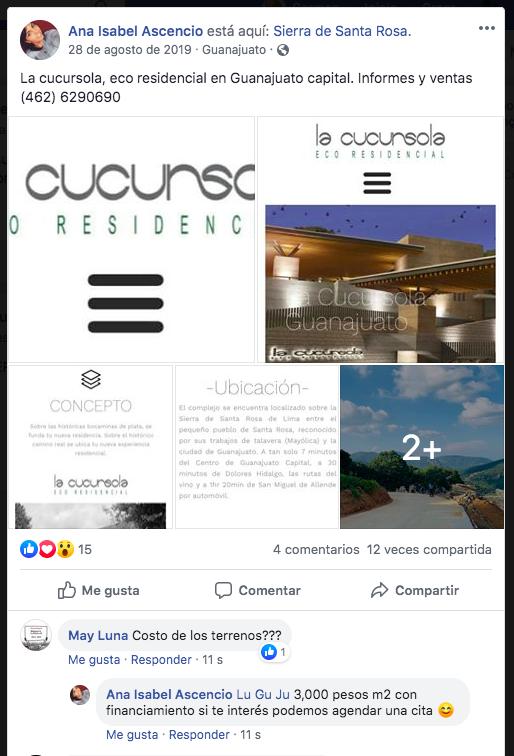 La usuaria Ana Isabel Ascencio ofrece los lotes del fraccionamiento Cucursola