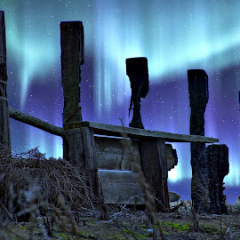 Northern lights by Gaylord Mink - Digital Art People ( lights, fence, night )