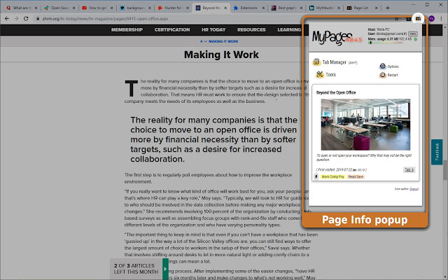 MyPages - Web Page Info & Tab Manager
