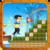 Man jumping under rainbow