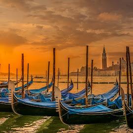 by Luis Silva - Transportation Boats ( venice, sunrise, veneza, gondula, golden hour, italy, morning,  )