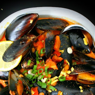 Mussels in Harissa Spiced Coconut Milk Broth.