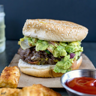 Venison Cheeseburger with Jalapeno and Guacamole.