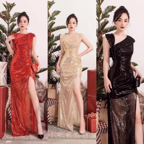 Đầm dạ hội kim sa đính ngọc D509