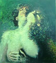"""Photo: """"Nômades Amantes do Tempo I"""". Acrílica / Duratex, 136,5 x 121,5 cm, 1998, Mossoró - Rio Grande do Norte."""