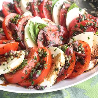 Buffalo Mozzarella and Tomato Salad with Olive Drizzle