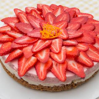 No-Bake Strawberry and Vanilla Cheesecake.