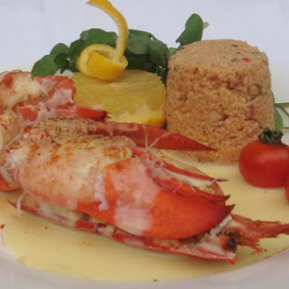 Lobster and Spicy Red Pepper Couscous Hollandaise.