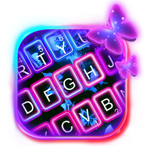 Color Neon Butterfly Keyboard Theme