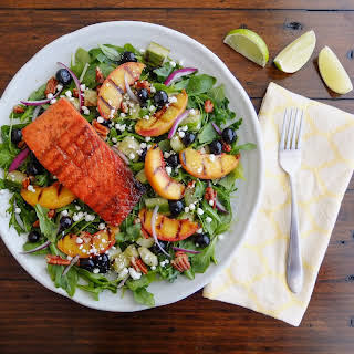 Maple-Sriracha Grilled Salmon with Grilled Peach Salad.