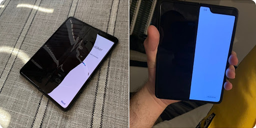 Mark Gurman from Bloomberg tweeted this picture of his Samsung Galaxy Fold review device that broke after a few days of use.