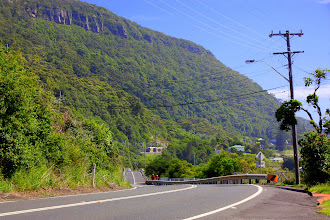 Photo: Year 2 Day 175 -  The Road, 2Kms Before the Sea Cliff Bridge (Note Train on Flat before Mountain)