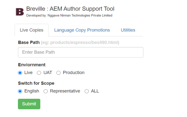 Breville AEM Author Support Tool