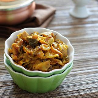Burnt Chili Spiced Cabbage and Potatoes. Patta Gobi Aloo Sabji. Vegan Glutenfree Recipe
