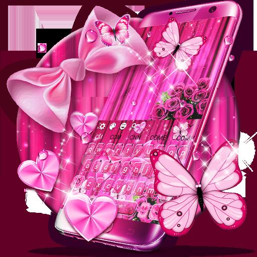 Pink Bowknot Glitter Keyboard