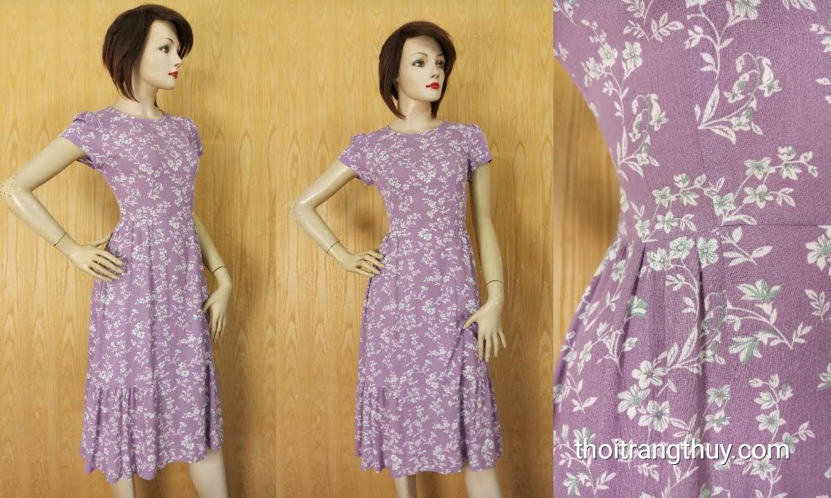 Váy midi công sở họa tiết hoa nhí màu tím V627 tại Hải Phòng