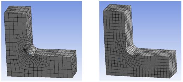 ANSYS Сравнение предпочтительных сеток для моделей в неявной (слева) и явной (справа) постановках