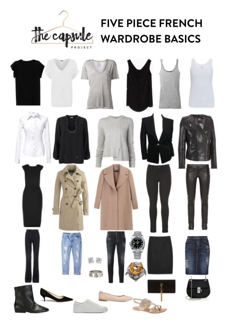 Five Piece French Wardrobe Basics Checklist