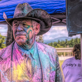 Colorful Cowboy by Chris Cavallo - Digital Art People ( cowboy, candid, cowboy hat, colorful, colors, vivid, digital art,  )
