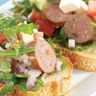 Lamb Sausage and Feta Bruschetta.