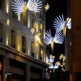 Angels over Carlton Street by DJ Cockburn - Public Holidays Christmas ( angel, holiday, england, winter, london, decoration, carlton street, electric, art, christmas, night, road, the christmas spirit, light, britain,  )