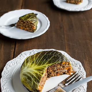 Vegan Chou Farçi (Cabbage Stuffed with Barley and Lentils).