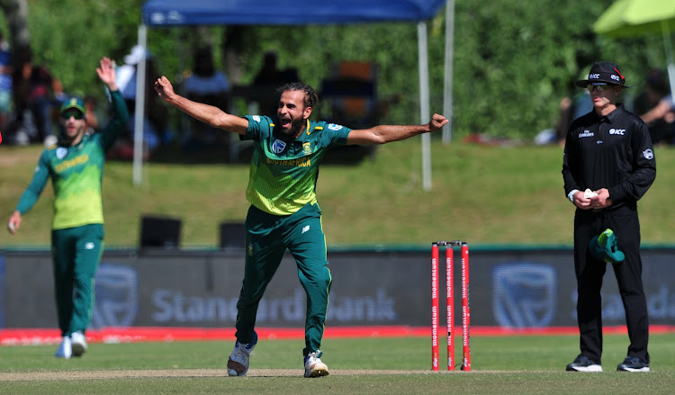 Proteas spin bowler Imran Tahir appeals for a wicket during the ODI game between SA and Zimbabwe at Boland Park in Paarl on October 6 2018.