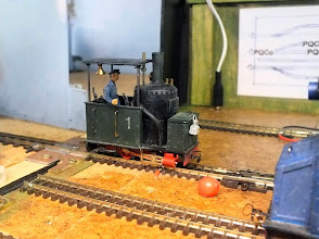 Photo: 103 Those who have read the Railway Modeller article last year on the Pynton Tramway will know that the quarry branch is operated by a steam loco, but I don't think I have featured the loco in any of my previous visits to this attractive 09 layout. Here then is the 0-4-0VB loco that provides the steam power for the quarry branch. No prizes for working out the chassis that has been used in its construction .